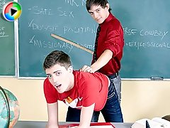 Teach Twinks with hot teacher spanking the hell out of his student!